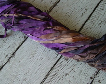 Hand Dyed Ribbon - NeW - SECRET SPELL quarter inch wide ribbon, 5 yards