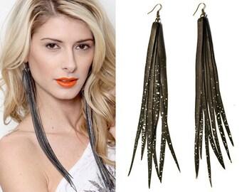 Black Faux Leather Earrings, Bicycle Innertube Earrings, Black Feather Earrings, Vegan Earrings, Faux Leather, Bike Jewelry