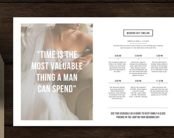 Wedding Timeline Template for Photographers - Magazine Style Templates - Photography Marketing Template - m0205