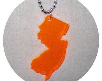 Big New Jersey Necklace in Fluorescent Neon Orange, State Necklace, State Jewelry, NJ shape pendant