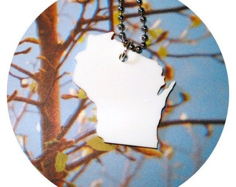 White Acrylic Wisconsin Necklace - US State Pendants - Acrylic Jewelry