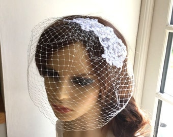 Bridal birdcage veil - Embroidered headpiece.