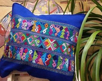 "Blue or Red Mayan pillow cover - decorative pillow 16""x16"" – Handmade Guatemalan Fabric - Free U.S. Shipping - Trama Textiles"