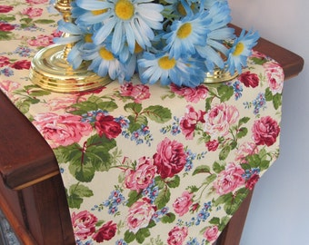 "Pink Rose Table Runner 54"" Reversible Pale Yellow Table Runner Yellow and Rose Table Runner Shabby Chic Table Runner"