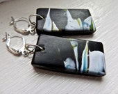 Earrings in Polymer Clay, Black white and blue Earrings, Abstract Earrings, Gift for Her, Gift under 20