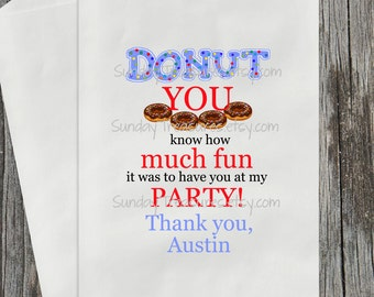 10 Donut Party Favor Bags / DONUT You Know How Fun at my Party / Wedding Donut Buffet / Valentine's Day Bridal Engagement Kids Birthday
