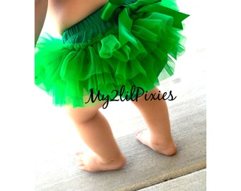 GREEN TUTU Bloomers, ruffles all around,Chiffon Baby Bloomer, Diaper cover, photo prop, baby girl,newborn tutu bloomer, ready to ship