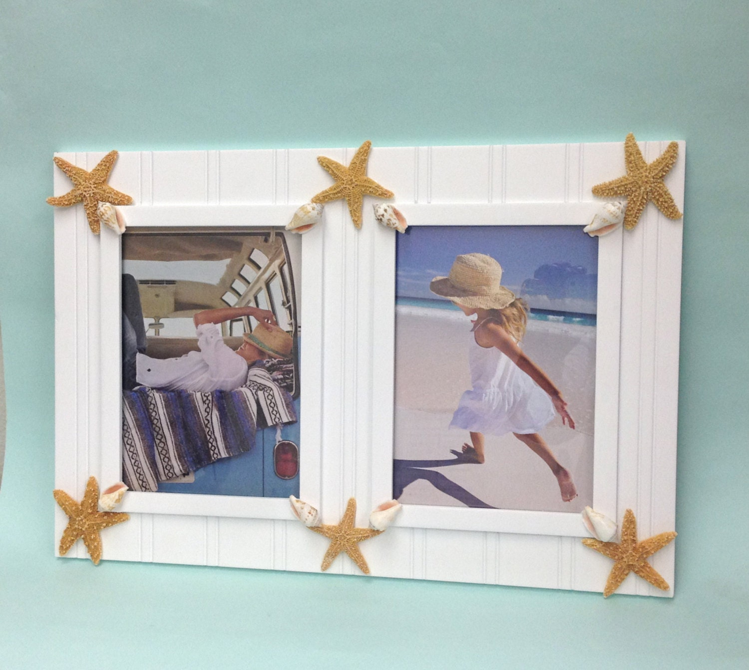 beach decor double picture frame with starfish and shells