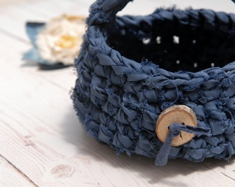 Blue basket with wooden button, Crochet rustic blue basket, Eco Friendly Home Decor