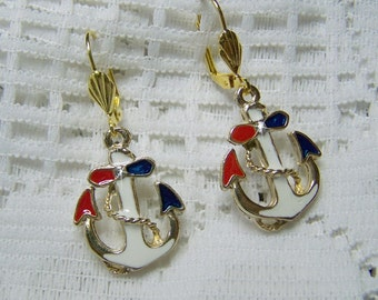 Red, White & Blue Anchor Earrings, Large Enamel Anchor, Nautical Anchor, Boating, Sailing, USN, Maritime, Gold Plated Anchors, LAST PAIR