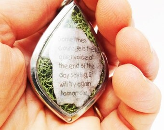 Try Again Tomorrow, Stone Heart, Terrarium Locket Necklace, Mini Curio Display, Natural World, Courage, Depression