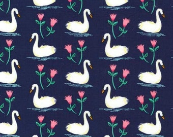 SALE - Michael Miller - Swans A Swimming in Midnight