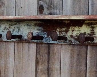 Rustic Barn Wood - Railroad - Spike - Shelf - 7 Spikes - Hooks - 40 Inch - The Original Railroad Shelf - Honeystreasures - Rustic Multiwash
