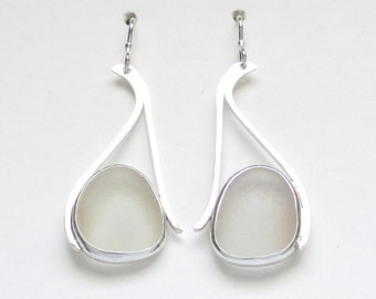 Sea Glass Jewelry - Sterling White Sea Glass Earrings
