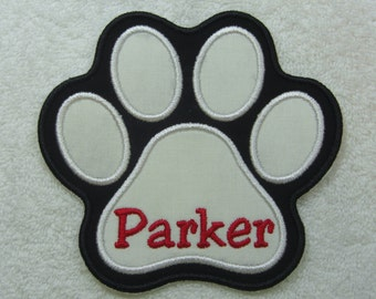 Name Patch for Pet (Paw Print Shape) Single Name Patch Fabric Embroidered Iron On Applique Patch MADE TO ORDER