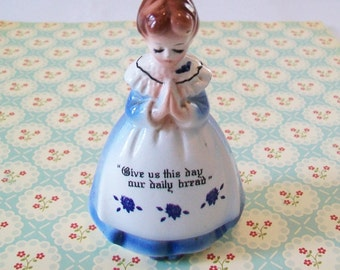 SALE - Vintage Salt Shaker, Kitchen Prayer, girl, 1960s, 1950s