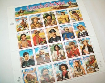 SALE - Vintage Unused Stamps Sheet, Legends of the West, 1993, usable