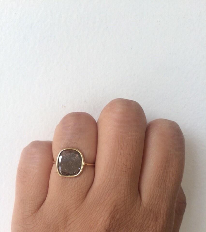 Raw Diamond Slice Engagement Ring