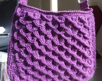 Purple Dragon Scales Crocheted Handbag