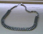 Rhinestone Choker Three Strands 1950s