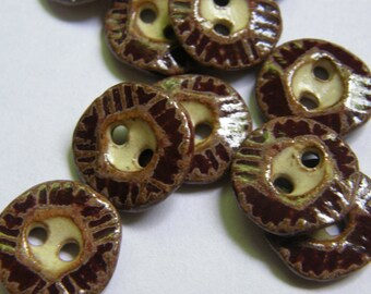Burgundy marsala small hexagon ceramic buttons for knitters