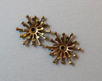 Oxidized Brass Riveted Flower Findings