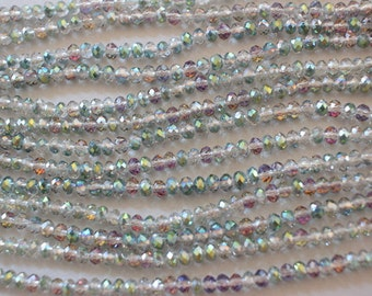 Faceted Crystal Rondelles 4mm x 3mm Semi Transparent Sahara Green AB 1 Strand