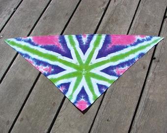 Tie Dye Pet Scarf - Pink, Purple & Green Shocker