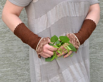 Fairy Story - crocheted open work lacy romantic multicolored wrist warmers mittens cuffs bridesmaid gift