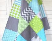 Gender Neutral Blanket, Nursery Decor, Minky Blanket, Crib Blanket, Chevron Nursery, Aqua Blue, Lime Green, Gray, Grey Chevron