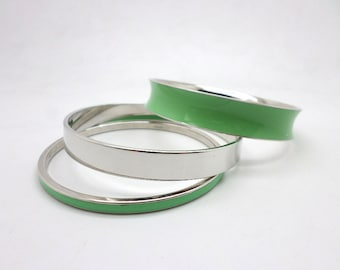 SALE Fun Trio of Vintage Bangles Light Minty Green Monet and Silvertone Caroline
