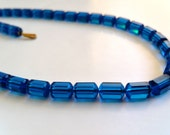 Vintage Capri  Blue Swarovski crystal necklace art bead  article #5230