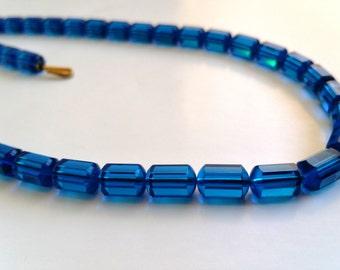 Vintage Capri  Blue Swarovski crystal necklace art bead  article #5230