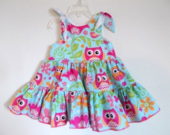 Pink Owls Floral Twirly Sundress Boutique Dress bright owls print cool cotton fabric Baby Infant Toddlers Girls Sizes