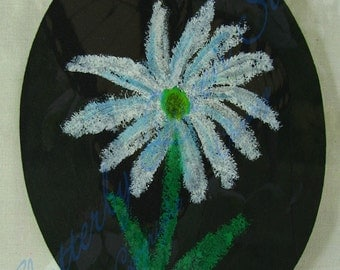 Original oil pastel 17 white daisy flower on recycled matte board