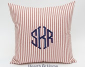 Red Ticking Stripe Large Point Monogrammed  Pillow  Personalized Embroidered Farmhouse Cottage Embroidered Pillow