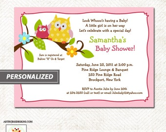 Happy Tree Owls Pink or Blue Baby Shower Invitations Printable JPG File Print your Own
