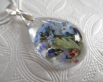 Memories of  You-True Love-Sky Blue Forget-Me-Nots, Pink Veronica, Feather Ferns Pressed Flower Domed Glass Teardrop Pendant