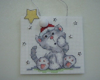 Cross Stitched Christmas Cat On A Branch #1 Ornament Completed