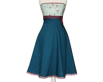 Maggie - Dress with butterflies, petrol blue, mint, turquoise, Japan, red, cherry blossoms, twigs, design, wedding, bridesmaid, lace
