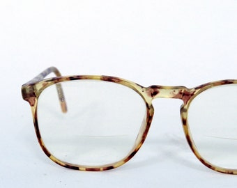 "Vintage Eye-wear Eyeglasses / light fawn brown transparent tortoiseshell / Anthony Martin designer Silhouette / clear frame Rx 2"" x 2"""