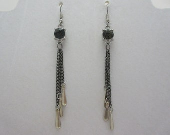 Gray Chains & Crystal Earrings
