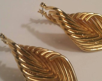 Eighties Goldtone pierced funky dangle mod earrings