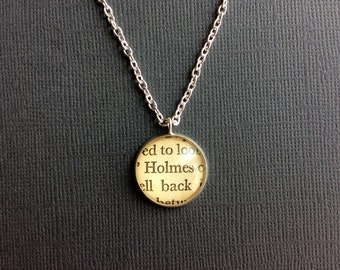 Sherlock Holmes Silver Pendant, Book Gift
