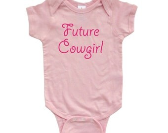 """Adorable Baby Girl """"Future Cowgirl"""" Country Western Cute Soft Cotton Infant Creeper"""