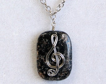 Wire Wrapped Treble Clef Necklace, Silver and Black Music Necklace, Treble Clef Pendant