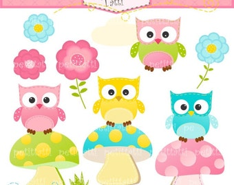 ON SALE Owls on the mushroom Digital clip art - owl clip art, flowers, instant download clip art