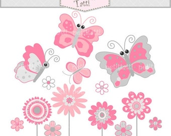 ON SALE Butterfly clip art and Flower clip art * Butterfly clip art ( instant download Digital clip art ) Butterfly and flowers 2, pink and
