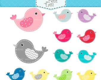 ON SALE birds clip art - Digital clip art  for all use, bird clip art, colours bird clip art, pink, blue, green, grey, yellow, instant downl