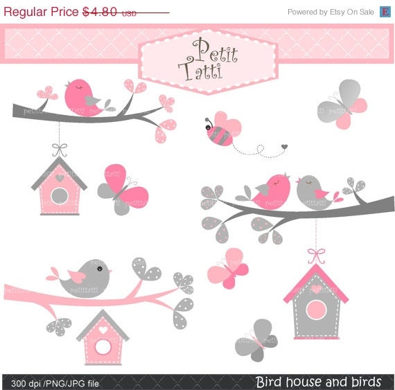 on sale birds clipart butterfly clip art bird house. Black Bedroom Furniture Sets. Home Design Ideas